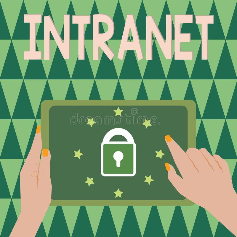 Text sign showing Intranet. Conceptual photo local or restricted communications network especially private one.  royalty free illustration