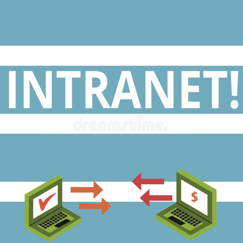 Text sign showing Intranet. Conceptual photo Private network of a company Interlinked local area networks Exchange Arrow. Text sign showing Intranet. Business stock illustration