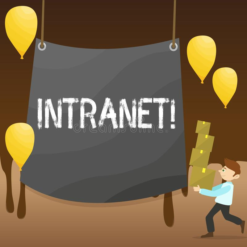 Text sign showing Intranet. Conceptual photo Private network of a company Interlinked local area networks Man Carrying. Text sign showing Intranet. Business stock illustration