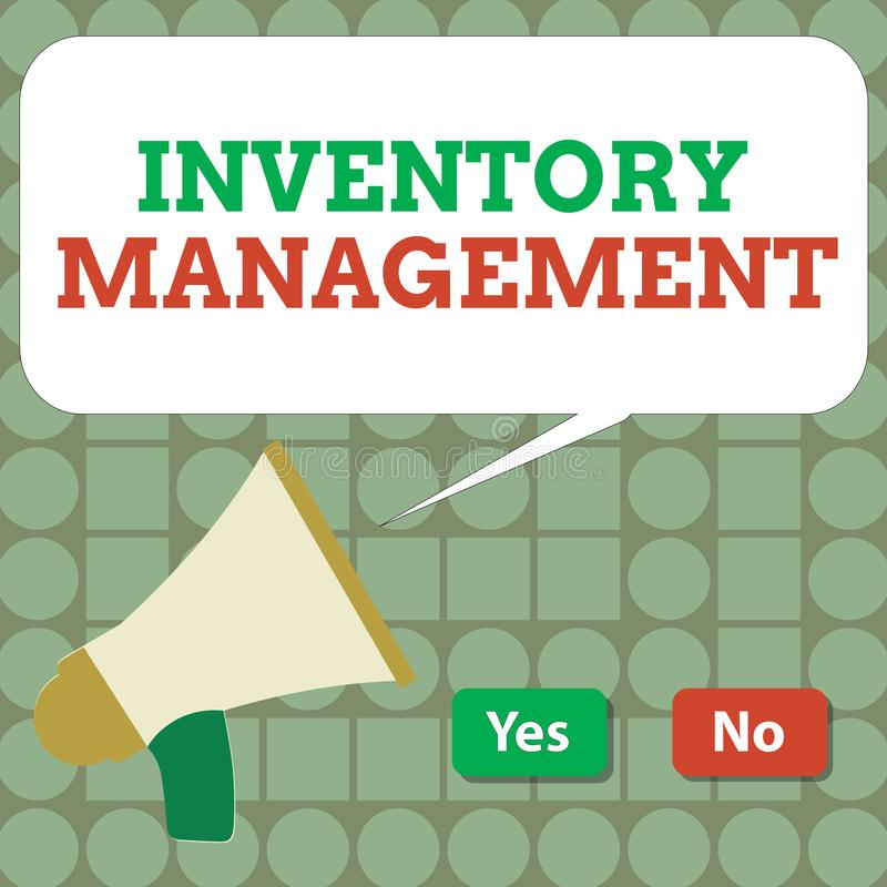 Text sign showing Inventory Management. Conceptual photo Overseeing Controlling Storage of Stocks and Prices.  stock illustration