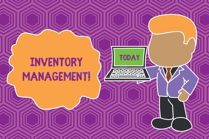 Text sign showing Inventory Management. Conceptual photo Overseeing Controlling Storage of Stocks and Prices Standing. Text sign showing Inventory Management stock illustration