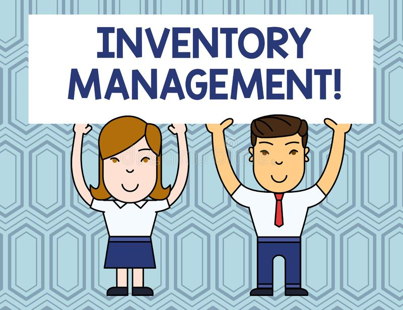 Text sign showing Inventory Management. Conceptual photo Overseeing Controlling Storage of Stocks and Prices Two Smiling. Text sign showing Inventory Management royalty free illustration