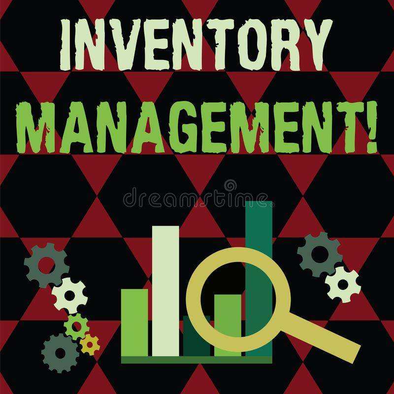 Text sign showing Inventory Management. Conceptual photo supervision of noncapitalized assets and stock items Magnifying. Text sign showing Inventory Management royalty free illustration