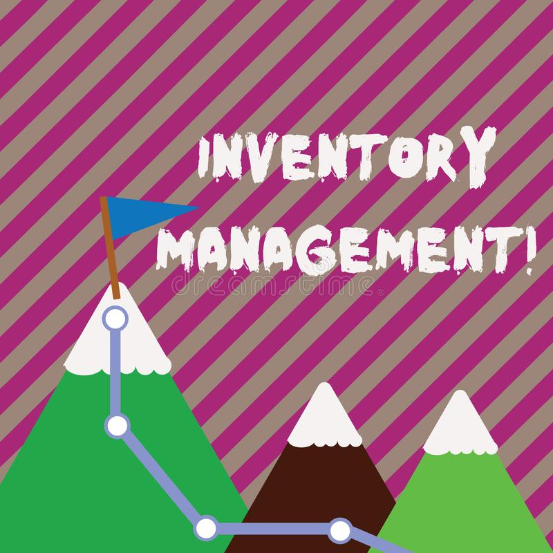 Text sign showing Inventory Management. Conceptual photo supervision of noncapitalized assets and stock items Three. Text sign showing Inventory Management royalty free illustration