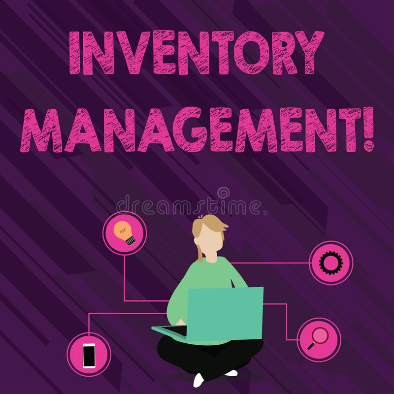 Text sign showing Inventory Management. Conceptual photo supervision of noncapitalized assets and stock items Woman. Text sign showing Inventory Management stock illustration