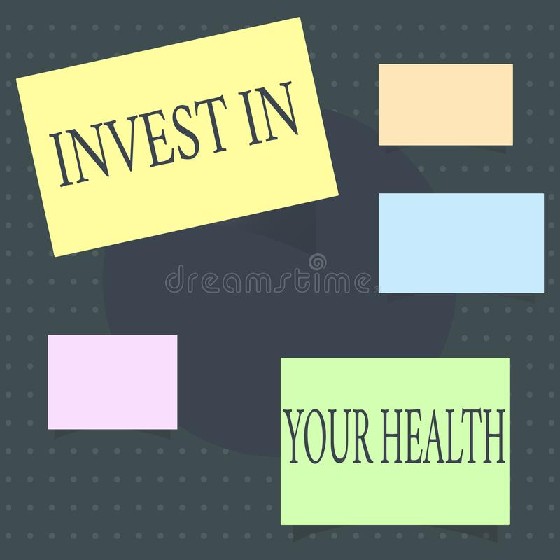 Text sign showing Invest In Your Health. Conceptual photo Live a Healthy Lifestyle Quality Food for Wellness.  royalty free illustration