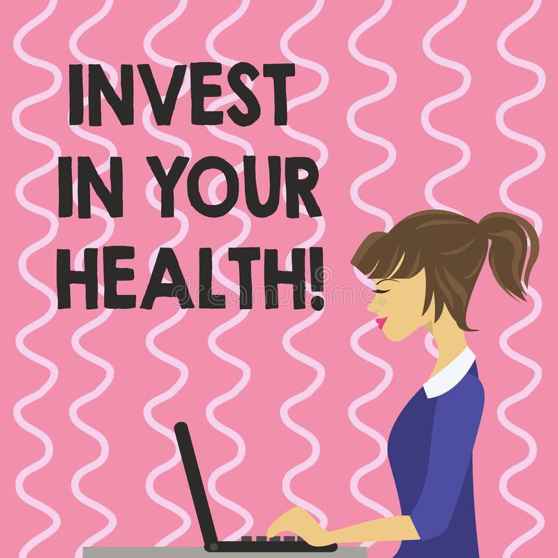 Text sign showing Invest In Your Health. Conceptual photo Spend money in demonstratingal healthcare Preventive Tests. Text sign showing Invest In Your Health vector illustration