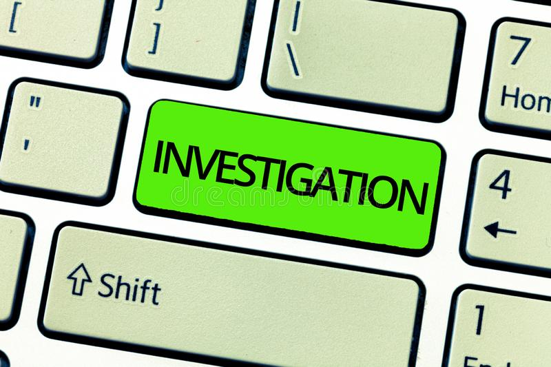 Text sign showing Investigation. Conceptual photo Formal inquiry or systematic study Process of probing a crime royalty free stock images