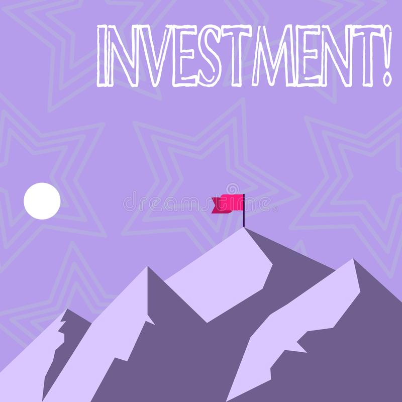 Text sign showing Investment. Conceptual photo To put Money Time into something to make profit. Text sign showing Investment. Conceptual photo To put Money Time vector illustration