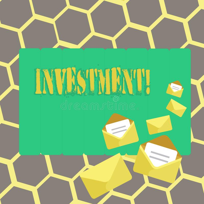 Text sign showing Investment. Conceptual photo To put Money Time into something to make profit. Text sign showing Investment. Conceptual photo To put Money Time stock illustration