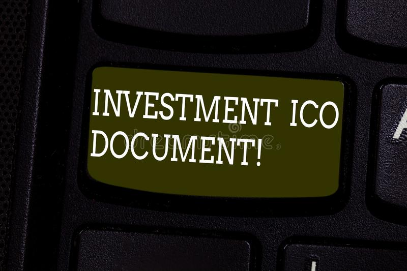 Text sign showing Investment Ico Document. Conceptual photo Files that states the skill behind a blockchain Keyboard key. Intention to create computer message royalty free stock photos