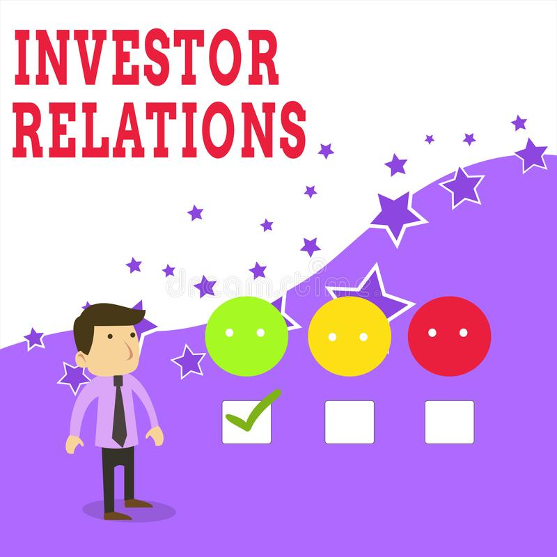 Text sign showing Investor Relations. Conceptual photo analysisagement responsibility that integrates finance White Male. Text sign showing Investor Relations royalty free illustration