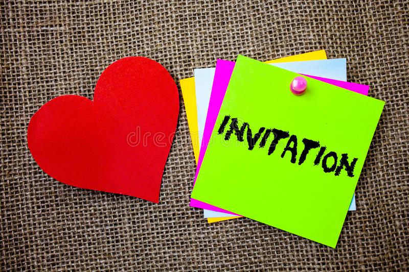 Text sign showing Invitation. Conceptual photo Written or verbal request someone to go somewhere or do something Ideas things to d. O messages intentions heart stock photos