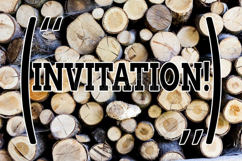 Text sign showing Invitation. Conceptual photo Written or verbal request someone to go somewhere or do something Wooden. Text sign showing Invitation. Business stock image