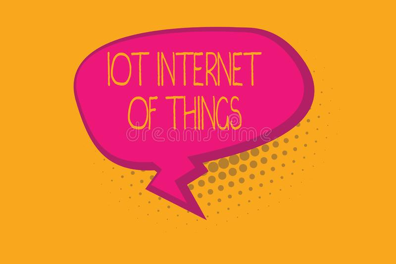 Text sign showing Iot Internet Of Things. Conceptual photo Network of Physical Devices send and receive Data.  stock illustration
