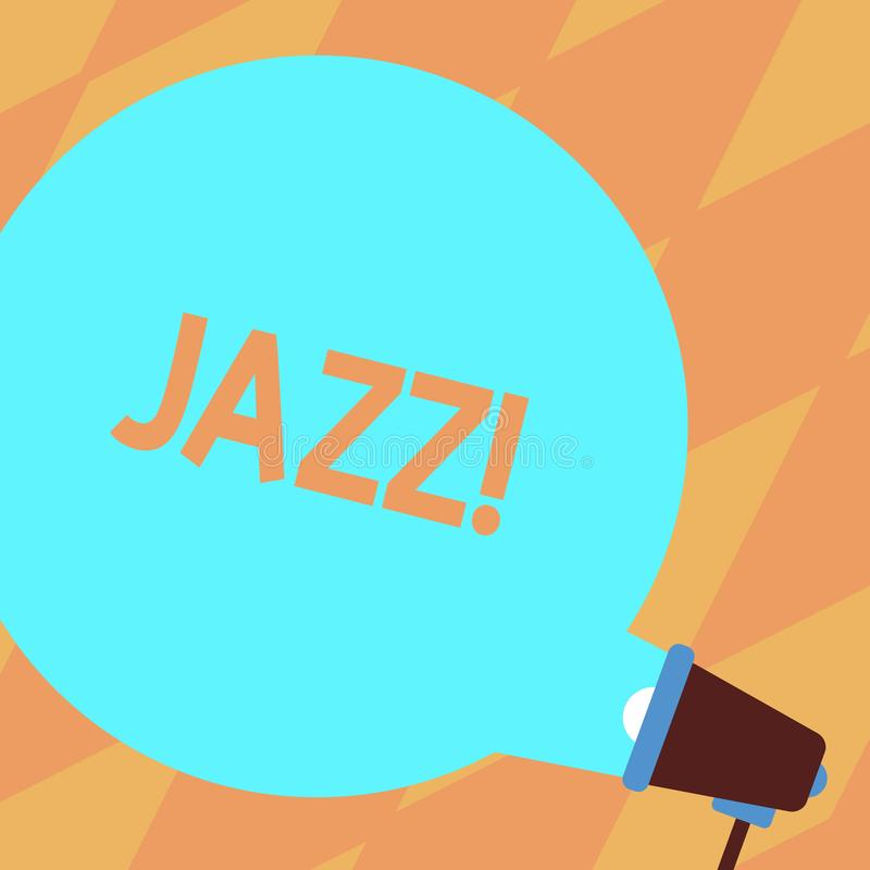 Text sign showing Jazz. Conceptual photo Type of music of black American origin Musical genre Strong rhythm Blank Round. Text sign showing Jazz. Business photo vector illustration