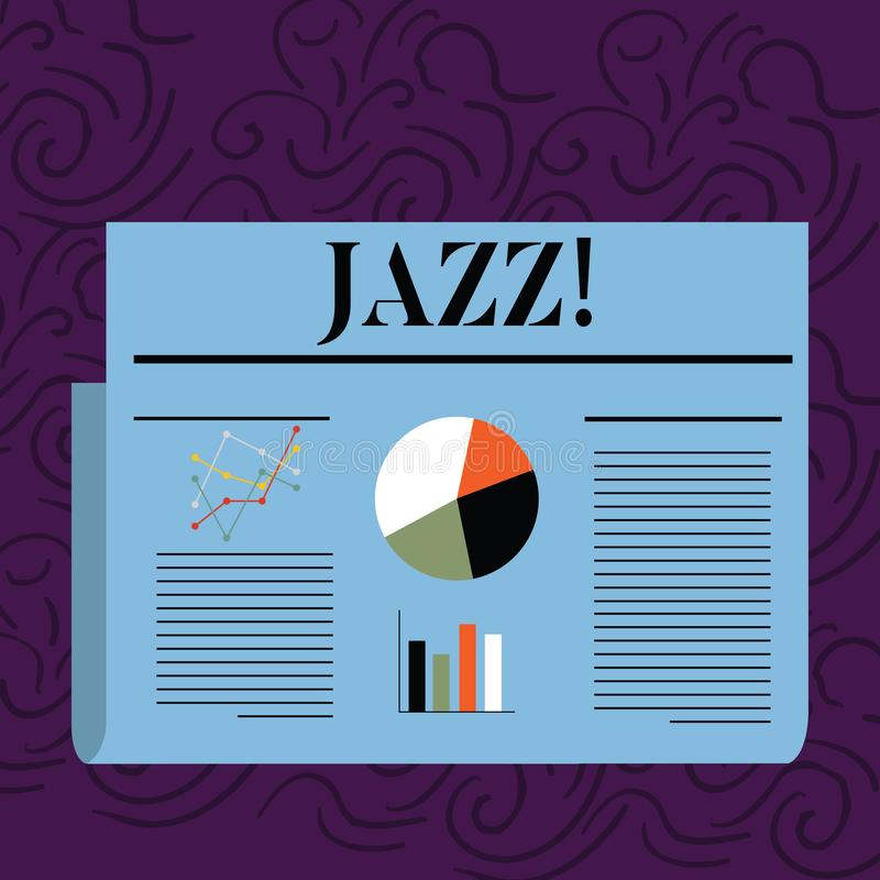 Text sign showing Jazz. Conceptual photo Type of music of black American origin Musical genre Strong rhythm Colorful. Text sign showing Jazz. Business photo text stock illustration