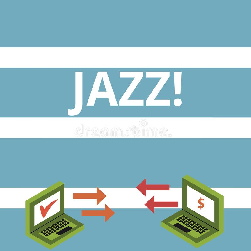Text sign showing Jazz. Conceptual photo Type of music of black American origin Musical genre Strong rhythm Exchange. Text sign showing Jazz. Business photo text royalty free illustration