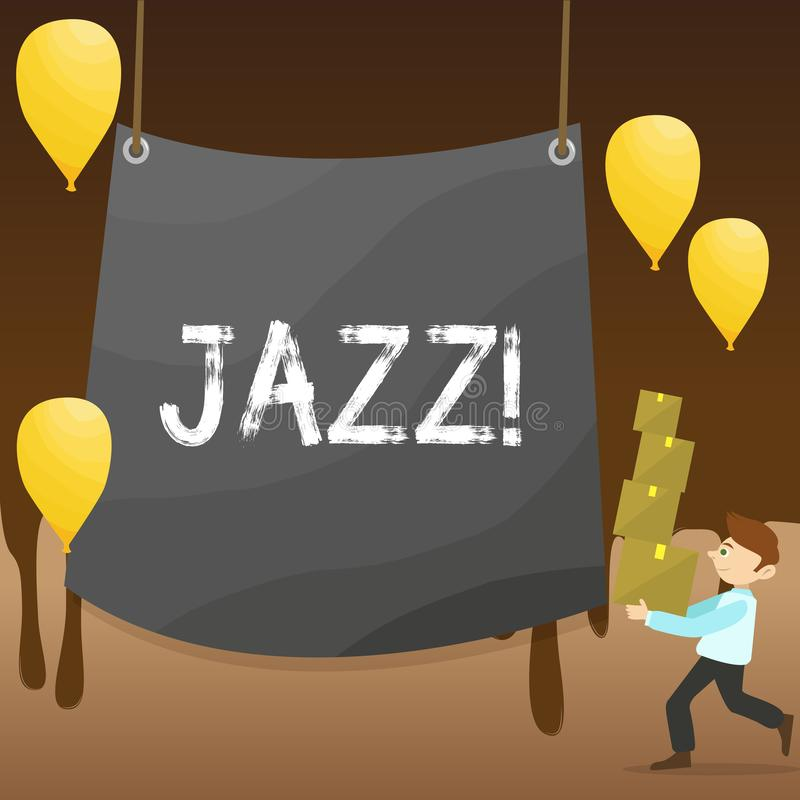 Text sign showing Jazz. Conceptual photo Type of music of black American origin Musical genre Strong rhythm Man Carrying. Text sign showing Jazz. Business photo stock illustration