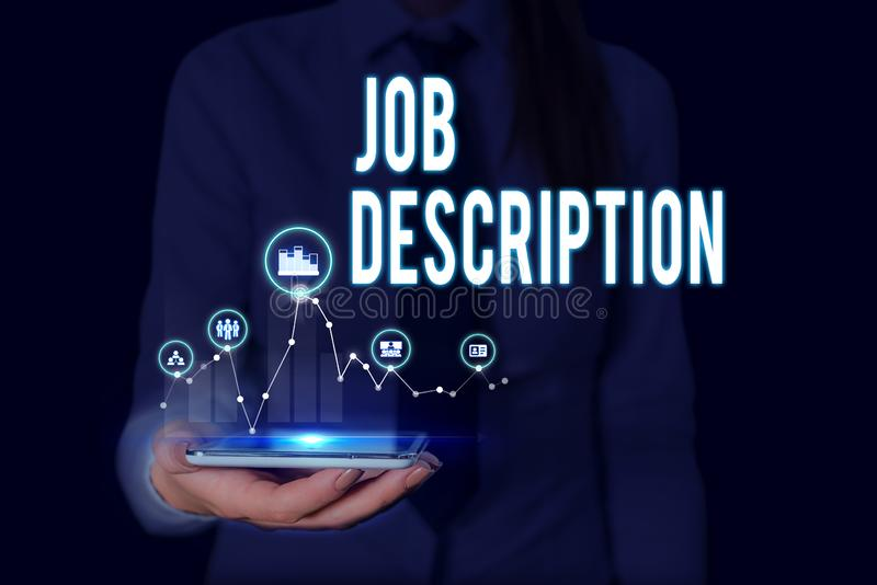 Text sign showing Job Description. Conceptual photo a formal account of an employee s is responsibilities Woman wear. Text sign showing Job Description. Business royalty free stock photo