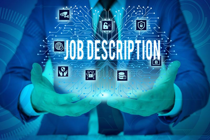 Text sign showing Job Description. Conceptual photo a formal account of an employee s is responsibilities Male human. Text sign showing Job Description. Business stock images