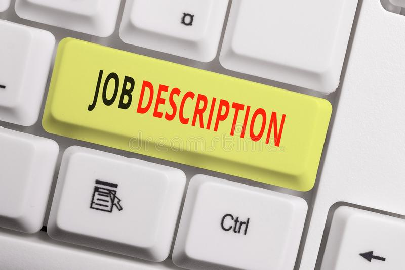 Text sign showing Job Description. Conceptual photo a formal account of an employee s is responsibilities White pc. Text sign showing Job Description. Business royalty free stock image