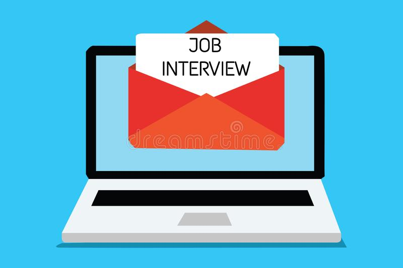 Text sign showing Job Interview. Conceptual photo Assessment Questions Answers Hiring Employment Panel Computer. Receiving email important message envelope with stock illustration