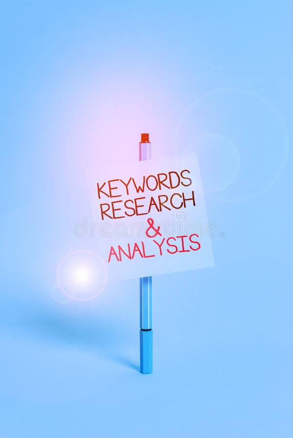 Text sign showing Keywords Research And Analysis. Conceptual photo search for data and create tables graphs Ballpoint. Text sign showing Keywords Research And stock images
