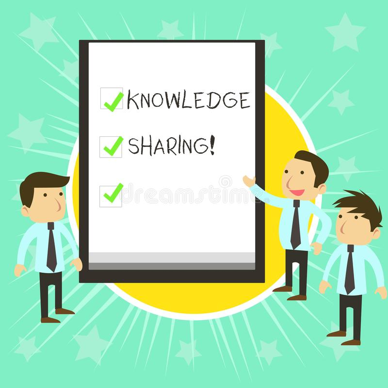 Text sign showing Knowledge Sharing. Conceptual photo deliberate exchange of information that helps with agility. Text sign showing Knowledge Sharing. Business vector illustration