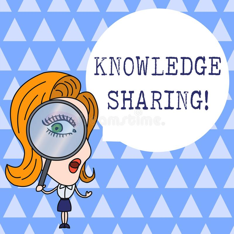 Text sign showing Knowledge Sharing. Conceptual photo deliberate exchange of information that helps with agility Woman. Text sign showing Knowledge Sharing vector illustration