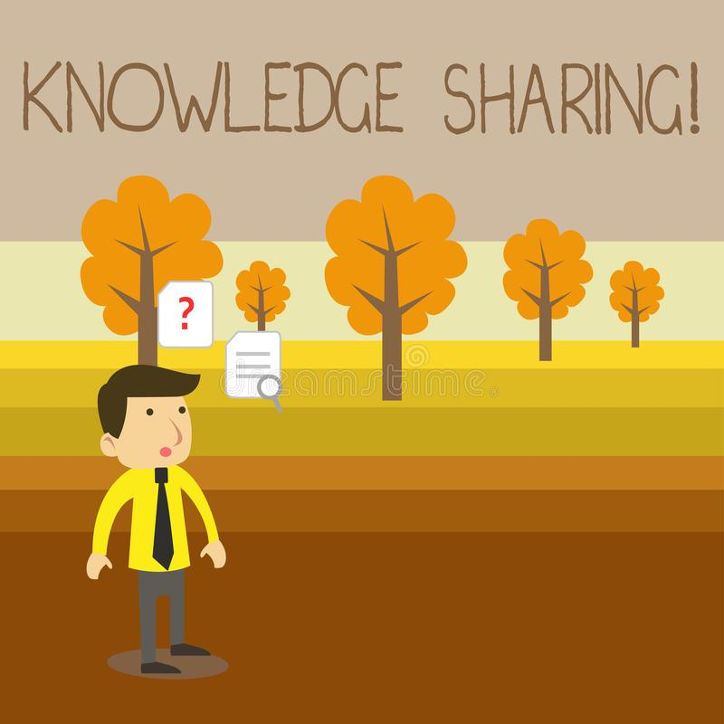 Text sign showing Knowledge Sharing. Conceptual photo deliberate exchange of information that helps with agility Young. Text sign showing Knowledge Sharing vector illustration