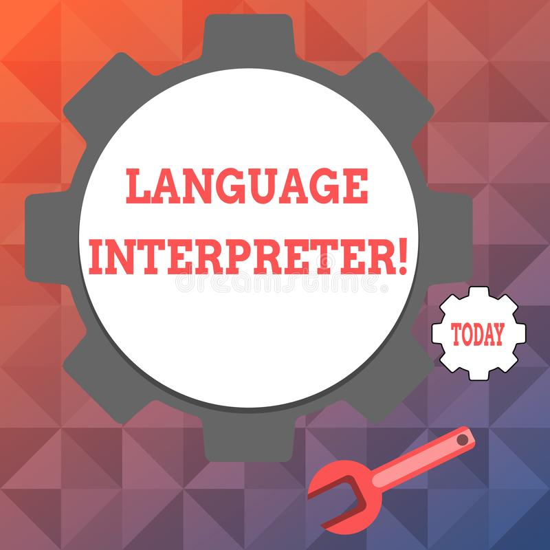 Text sign showing Language Interpreter. Conceptual photo Convey messages between two different languages Big and Small. Text sign showing Language Interpreter vector illustration
