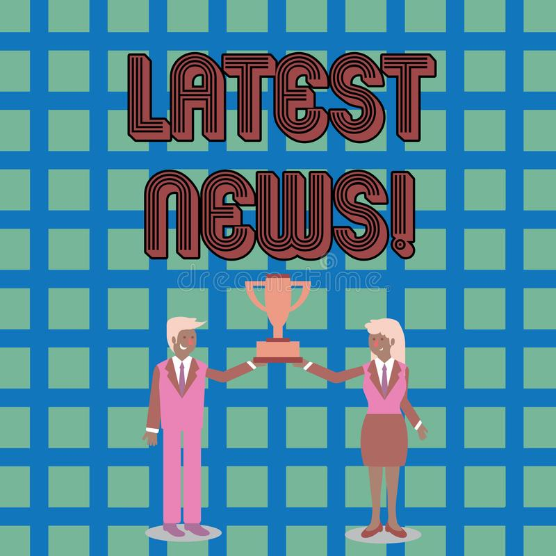 Text sign showing Latest News. Conceptual photo something that is most recent or currently just happened Man and Woman. Text sign showing Latest News. Business royalty free illustration