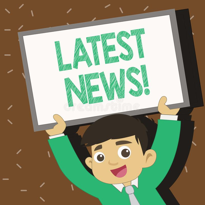 Text sign showing Latest News. Conceptual photo something that is most recent or currently just happened Young Smiling. Text sign showing Latest News. Business royalty free illustration