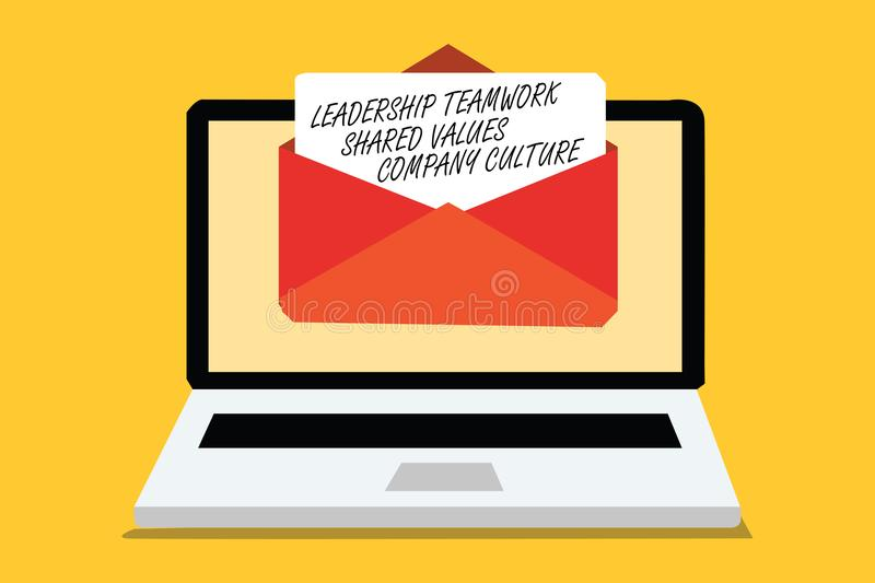Text sign showing Leadership Teamwork Shared Values Company Culture. Conceptual photo Group Team Success Computer receiving email. Important message envelope royalty free illustration