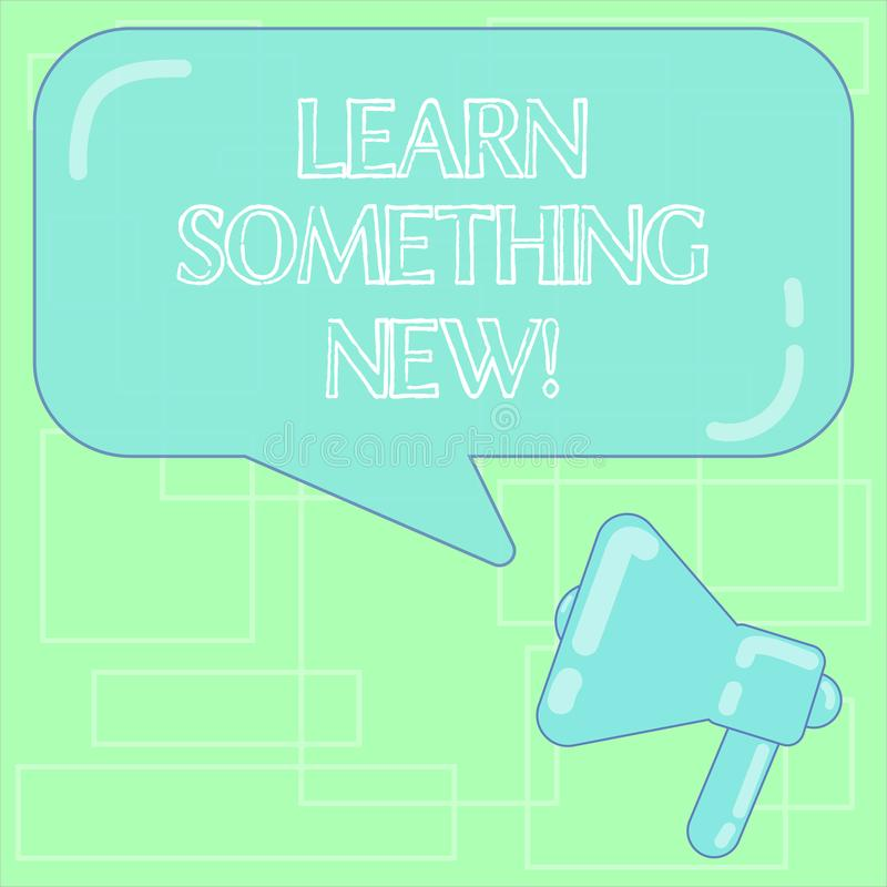 Text sign showing Learn Something New. Conceptual photo Getting knowledge in different subjects you didnt know Megaphone. Photo and Blank Rectangular Color vector illustration