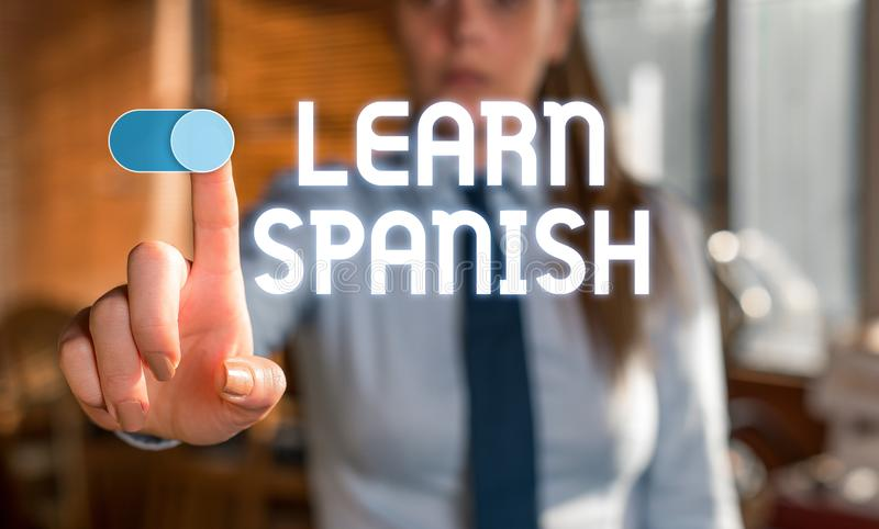 Text sign showing Learn Spanish. Conceptual photo Translation Language in Spain Vocabulary Dialect Speech Blurred woman. Text sign showing Learn Spanish royalty free stock photography