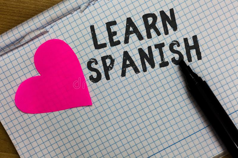 Text sign showing Learn Spanish. Conceptual photo Translation Language in Spain Vocabulary Dialect Speech Squared. Notebook paper ripped sheets Marker romantic royalty free stock photography