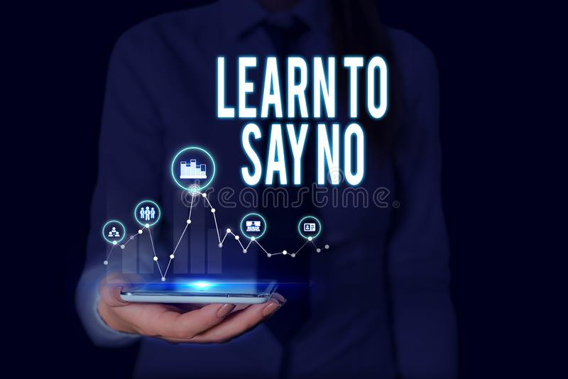 Text sign showing Learn To Say No. Conceptual photo decline or refuse few things before you destroy yourself Woman wear. Text sign showing Learn To Say No stock photos