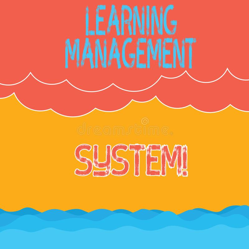Text sign showing Learning Management System. Conceptual photo software application that is used to administer Halftone. Wave and Fluffy Heavy Cloud Seascape stock illustration