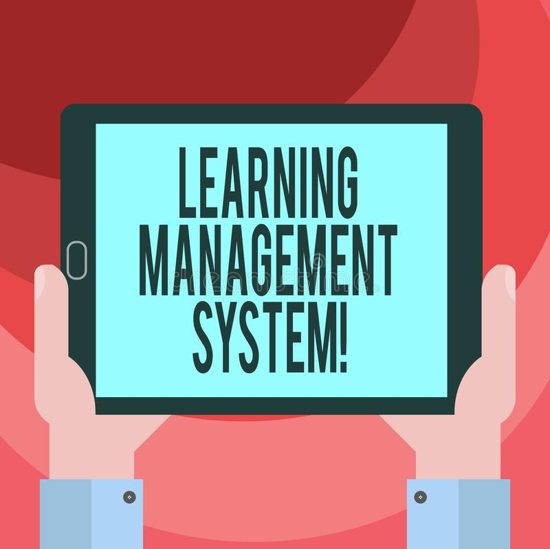Text sign showing Learning Management System. Conceptual photo software application that is used to administer Hu. Analysis Hand Holding Blank Screen Tablet vector illustration