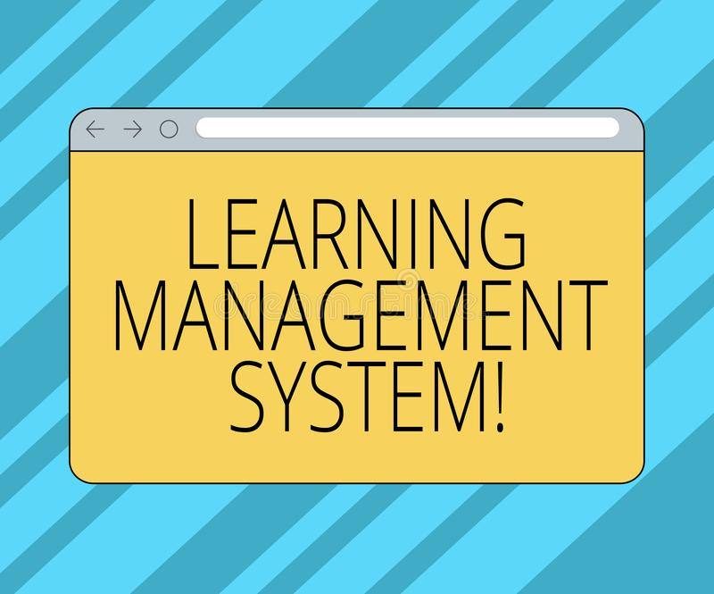 Text sign showing Learning Management System. Conceptual photo software application that is used to administer Monitor. Screen with Forward Backward Progress vector illustration