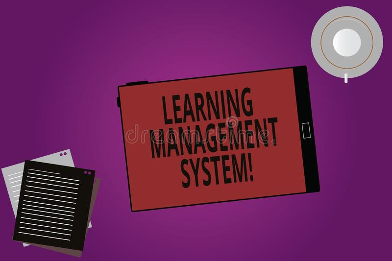 Text sign showing Learning Management System. Conceptual photo software application that is used to administer Tablet. Empty Screen Cup Saucer and Filler Sheets royalty free illustration