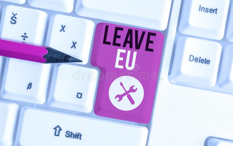 Text sign showing Leave Eu. Conceptual photo An act of a demonstrating to leave a country that belongs to Europe White. Text sign showing Leave Eu. Business royalty free stock images