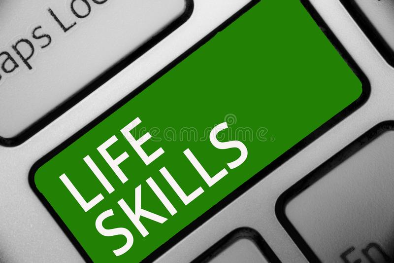 Text sign showing Life Skills. Conceptual photo that is necessary or desirable full participation in everyday Keyboard green key I. Ntention create computer stock illustration
