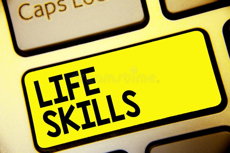 Text sign showing Life Skills. Conceptual photo that is necessary or desirable full participation in everyday Keyboard yellow key. Intention create computer stock illustration