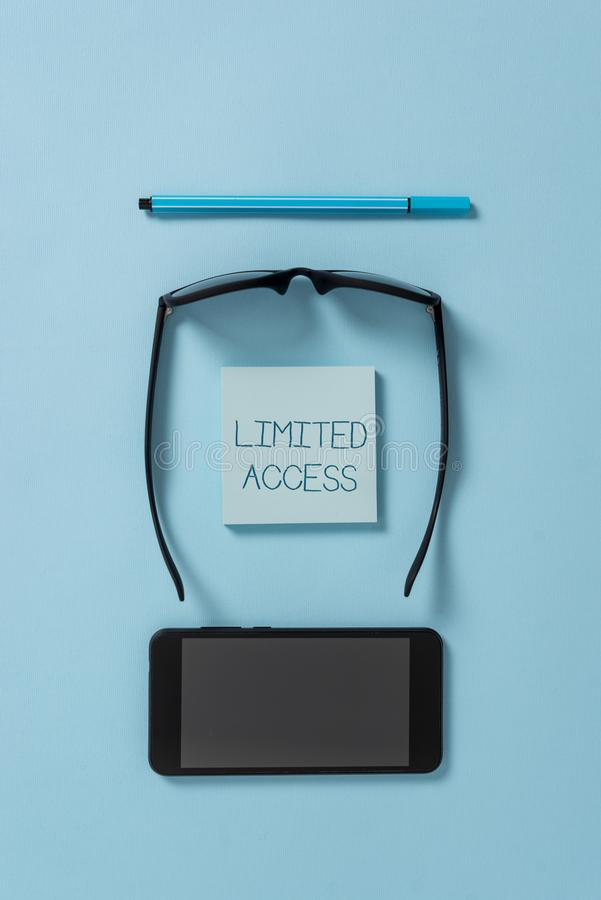 Text sign showing Limited Access. Conceptual photo Having access restricted to a quite small number of points Dark. Text sign showing Limited Access. Business stock images