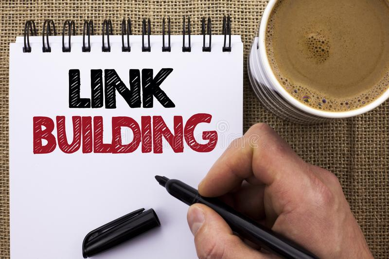 Text sign showing Link Building. Conceptual photo Process of acquiring hyperlinks from other websites Connection written by Man Ho. Lding Marker Notebook Book royalty free stock photo