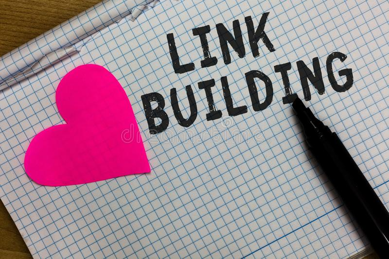 Text sign showing Link Building. Conceptual photo SEO Term Exchange Links Acquire Hyperlinks Indexed Squared notebook paper ripped. Sheets Marker romantic ideas royalty free stock photography