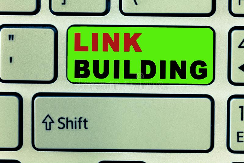 Text sign showing Link Building. Conceptual photo SEO Term Exchange Links Acquire Hyperlinks Indexed.  royalty free stock photography